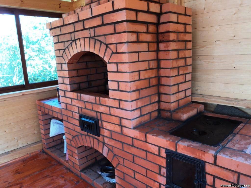 Печь с плитой и барбекю